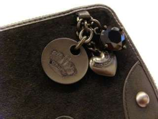 NWT JUICY COUTURE Velour Heart, JC logo, Bling Iconic Charm Zip Clutch