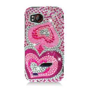 PINK HEART BLING HARD CASE FOR HTC REZOUND ADR6245 SNAP COVER