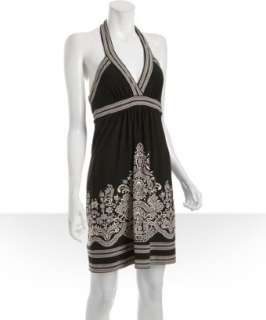 BCBGMAXAZRIA black printed matte jersey halter dress   up to