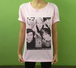 Neckline T Shirt 1D ONE DIRECTION Up All Night Boy Band Fan Printed
