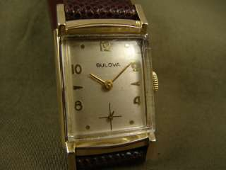 CLASSIC BULOVA ART DECO MENS 1957 FANCY GOLD PLATED CASE VINTAGE DRESS