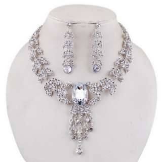 Rhinestone Leaf Crystal Necklace Earrings 1Set Wedding Bridal Charm