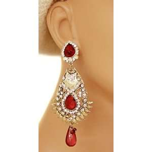 Gold Ethnic Indian Beaded Bollywood Celebrity Earrings Jewelry