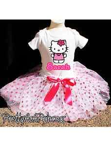 BIRTHDAY HELLO KITTY TUTU OUTFIT PINK DRESS AGES 1 4