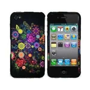 Apple Iphone 4, 4s Phone Protector Hard Cover Colorful Flower on Black