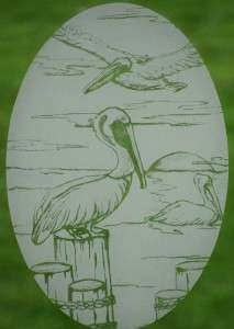 OVAL WINDOW DECAL Birds Etched Glass Vinyl Clings Tropical Decor