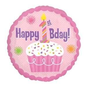 FIRST BIRTHDAY GIRL Cupcake Polka Dot Large 18 ROUND