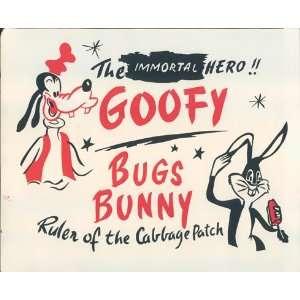 GOOFY BUGS BUNNY ORIGINAL 1950S LOBBY CARD ART Home