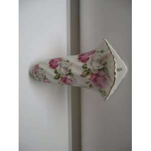 Pink & White Rose Trio Gold Trimmed Wall Pocket: Home