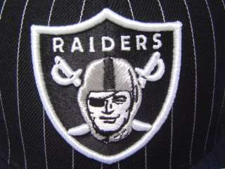 Oakland Raiders Flatbill Fitted Cap White Pin Stripes