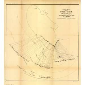 Civil War Map Second attack upon Fort Fisher by the U.S