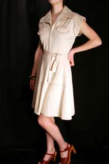 70s 2pc BEIGE JUMPSUIT SHORTS ROMPER + WRAP SKIRT DRESS OUTFIT