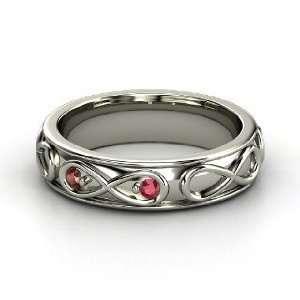 Infinite Love Ring, 14K White Gold Ring with Ruby & Red Garnet