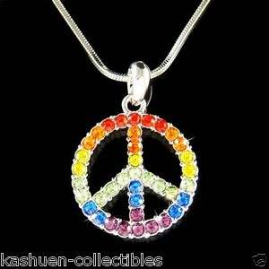 Crystal 60s ~Rainbow PEACE sign Symbol hippie Boho Pendant Necklace