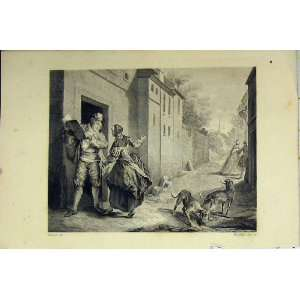 Street Scene C1850 Man Book Dogs Woman Begging Print