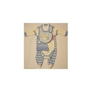 Hudson Baby Boys 4 Pieces Lite Blue Little Lion Layette Set Baby
