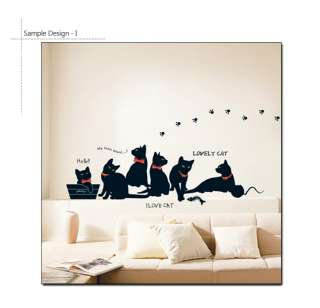 BLACK CATS ★ WALL DECOR DECAL STICKER REMOVABLE VINYL