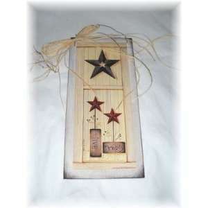 Live Simply Country Wall Art Sign Burgundy Navy Barn Stars