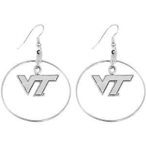 NCAA Virginia Tech Hokies Charm Hoop Earrings Sports