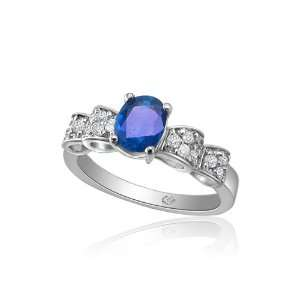 Gold 1.00ct Blue Sapphire and 0.22ct Diamond Ring Size 6.5 Jewelry