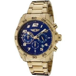 Invicta Mens Chronograph Gold Plated Stainless Steel Sharp Blue Dial