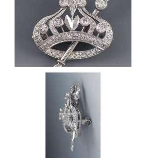 FINE 1939 14K WHITE GOLD & DIAMOND CROWN & SCEPTER PIN