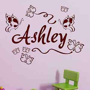 CUSTOM PERSONALIZED BOY GIRL CHILD NAME BUTTERFLIES Vinyl Wall Decal