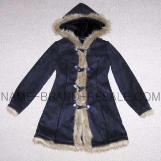 BABY PHAT BLACK FUR TRIMMED HOODED TOGGLE COAT GIRLS LARGE L 12/14