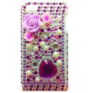 Purple Flower Heart Crystal Diamond Bling Rhinestone