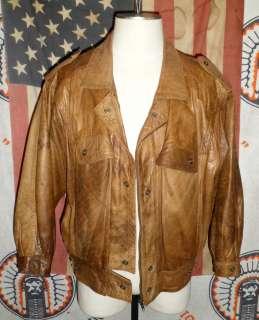 Leather Motorcycle Racing Jacket LRG Bomber flight coat 70s 80s