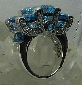Sima K 19.06ct Blue and White Topaz 925 Sterling Silver Ring SZ 10
