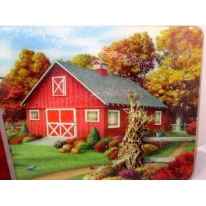 TEMPERED GLASS CUTTING BOARD LARGE 18 X 12 FALL COUNTRY