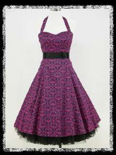 PURPLE & PINK 50s PRINT PARTY RETRO COCKTAIL VINTAGE PROM DRESS GOWN