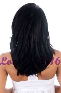 Jet Black Medium Straight Indian Remy Human Hair Lace Front Wigs 10