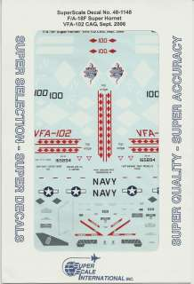 48 SuperScale Decals F/A 18F Super Hornet F 18F VFA 102 CAG |