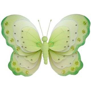 13 Large Pink, Purple & Green Triple Layered Butterfly Decorations
