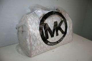 New Michael Kors Grayson Large Logo Satchel HandbagVanilla