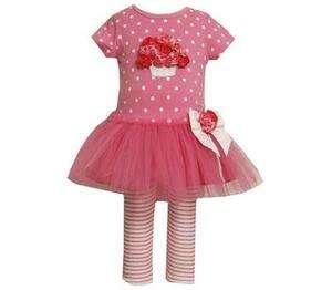 Jean Baby Girls Spring Easter Pink Tutu Rose Dress & Leggings Set 18M