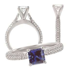 18K lab grown 7mm princess cut blue sapphire color #4 engagement ring