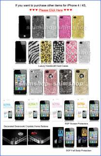 4S 4G Luxury Bling Crystal Thin Slim Black Gold Hard Cover Case Bumper