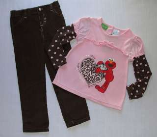 SESAME STREET Girls 3T, 4T Pink ELMO Heart Shirt, Brown Corduroy Pants