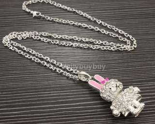Cute rabbit clear pink swarovski crystals chain necklace