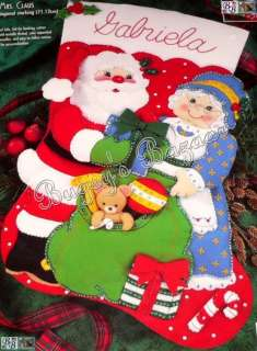 Bucilla JUMBO MR. & MRS. CLAUS STOCKING Santa Toy Sack Felt Christmas