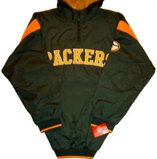 Green Bay Packers NFL Midweight Hooded Jacket 1/4 Zip 4XL NWT