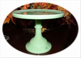 10 Jadeite Green Milk Glass Pedestal Cake Plate Stand