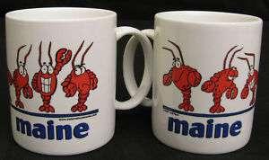 x2) MAINE Cartoon LOBSTER Ceramic Coffee Mug Cup NEW