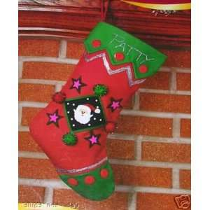 Holiday Time Christmas Canvas Craft Stocking Kit  Home