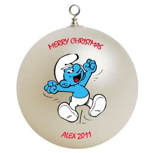 Personalized Custom Smurf Christmas Ornament Gift Add Childs Name