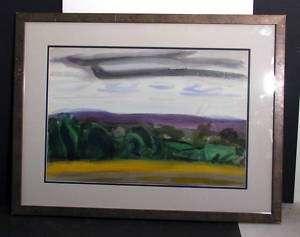 Ackerman Modernist Watercolor Painting Landscape