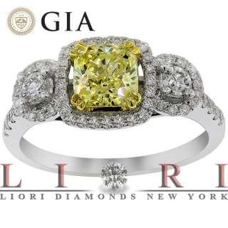 05 CARAT GIA CERTIFIED NATURAL FANCY YELLOW DIAMOND ENGAGEMENT RING